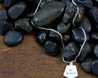be brave handwritten necklace