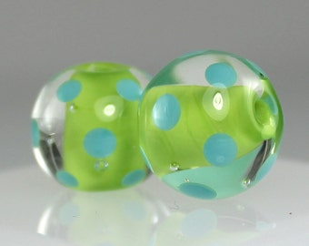 Made to Order - One Pair of Lime Green and Turquoise, Lampwork Beads, Handmade Glass Beads, SRA Beads