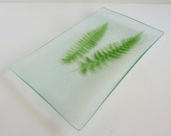 Fossil Vitra Fused Glass Fern Plate by BPRDesigns
