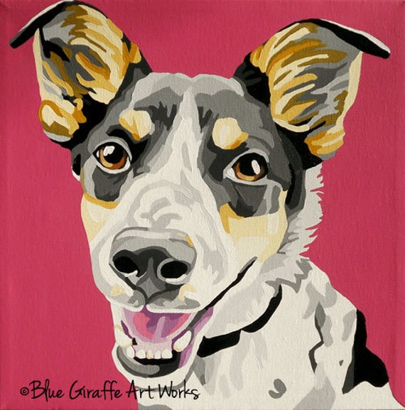 "12x12"" Custom Pet Portraits that POP- Hand-painted in acrylic on canvas"