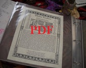 Witch's Familiar PDF -- Book of Shadows -- BOS page