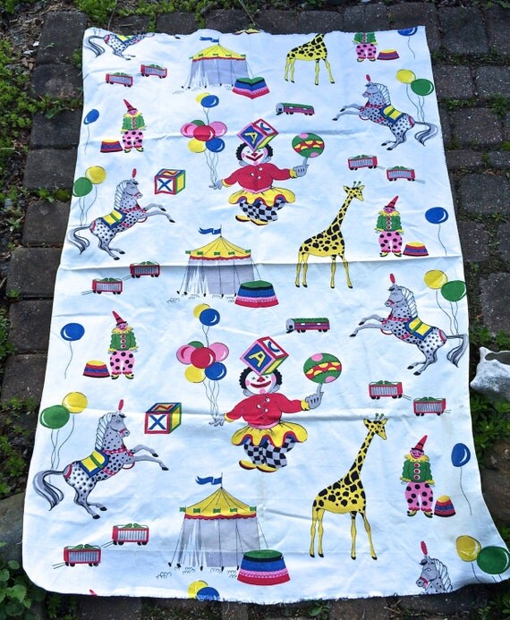 Items similar to vintage circus fabric adorable retro for Kids horse fabric