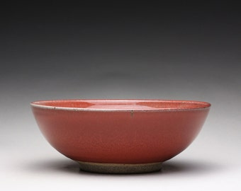 handmade pottery bowl, serving bowl, ceramic bowl with bright red and green celadon glazes