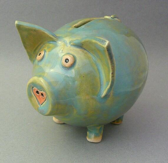 Handmade pottery piggy banks bing images for Handmade coin bank