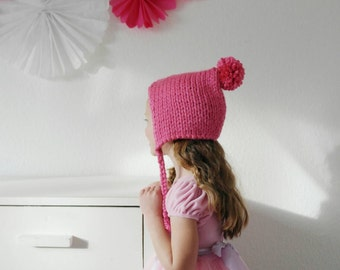 Pixie Bonnet with Pom Pom Hand Knitted in Bright Pink Kids Winter Fashion Accessories Valentine's Day