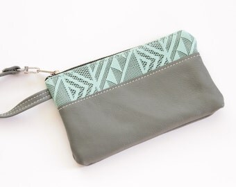 Wristlet in Grey Leather with Teal Lace Accent