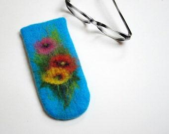 Felted Eyeglass Case. Poppy2