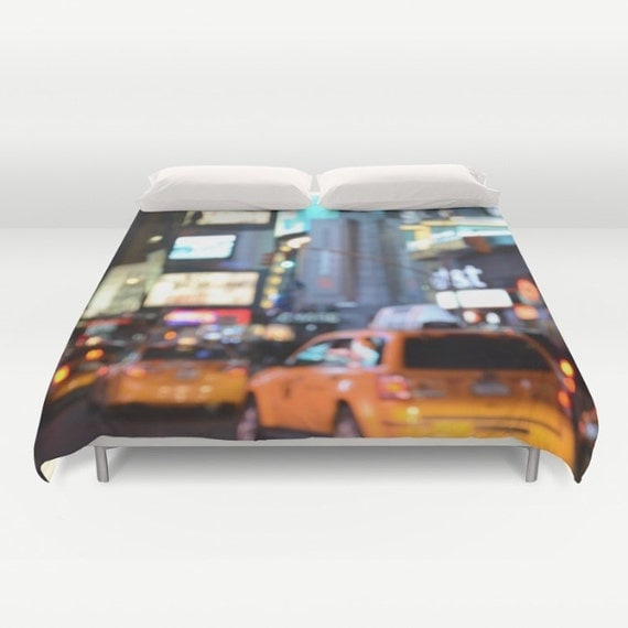 Yellow Cabs at Time Square in New York Duvet Cover, Dorm bedding, unique design, modern, urban comforter cover, bedroom, city bokeh lights