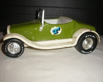 Vintage Nylint Green and White Model T Metal Toy Car with Fold Down Windshield and Rumble Seat
