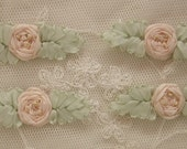 4pc Vintage Chic Nude Peach Silk Ribbon Embroidered Spider Rose Flower Applique Christening Gown Baby Doll Hair Bow