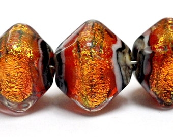 Glass Lampwork Bead Set - 10706807 Five Bonfire Shimmer Crystal Shaped Beads