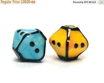 ON SALE 30% OFF Glass Lampwork Bead Sets  - Five Multiple Color Bicone Beads 11007507