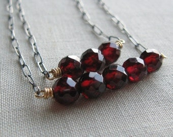 Layered Faceted Red Garnet Mixed Metal Necklace