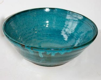 Ceramic Multipurpose Bowl in Turquoise Blue  Stoneware  for Mixing or Serving Nine and one half Inches top diameter