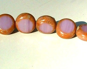 Rare Czech Glass Bead 10mm Coin Bead PURPLE Lilac White Opal Base and Picasso Finish (12)