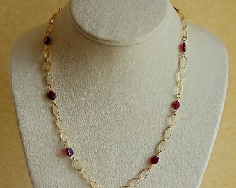 Faceted Flat Oval Garnet Gemstone and Golden Oval Chain Necklace