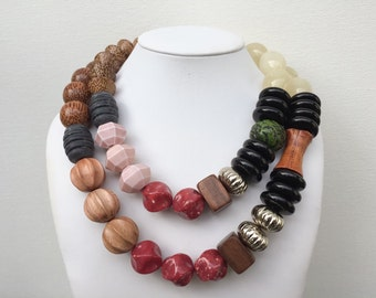 Necklace 2.26 - handmade one of a kind beaded chunky asymmetrical statement necklace vintage lucite wood metal ceramic beads two 2 strand