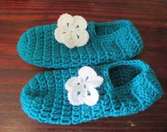 Hand Crocheted Women's Adult Sized Bootie Style Slippers Teal Green with White Flowers