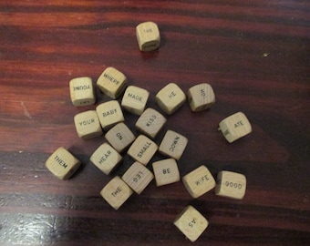 Lot of 21 Wood Scrabble Word Cubes Wooden Cube Scrabble Crossword Words Game