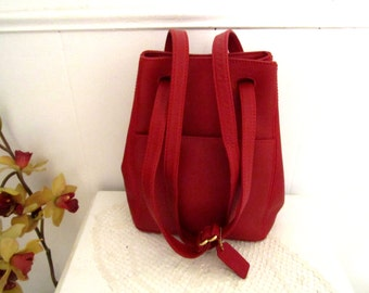 COACH Leather Bag  Crossbody Bucket Bag in Deep-Red Color  Leather