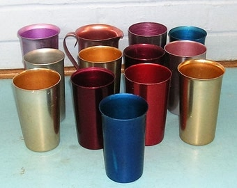 12 Vintage Aluminum Tumblers Vintage Aluminum Tumblers Cups and 1 Pitcher Color Craft Sunburst Bascal
