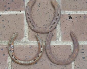 3 Antique Horseshoes Antique Vintage Rusty Iron Horseshoes