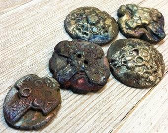 Five Raku Cross Button/ Cabochon Assortment Pink Blue Silver Gold Rust