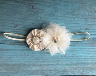 Baby Baptism antique ivory or pure white shabby chic flower on soft stretch headband the LAYLA BALLERINA newborn to 6 years