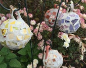 Recycled Broken China Mosaic Garden Ball Ornaments - Vintage Teacups - Choice of Colors