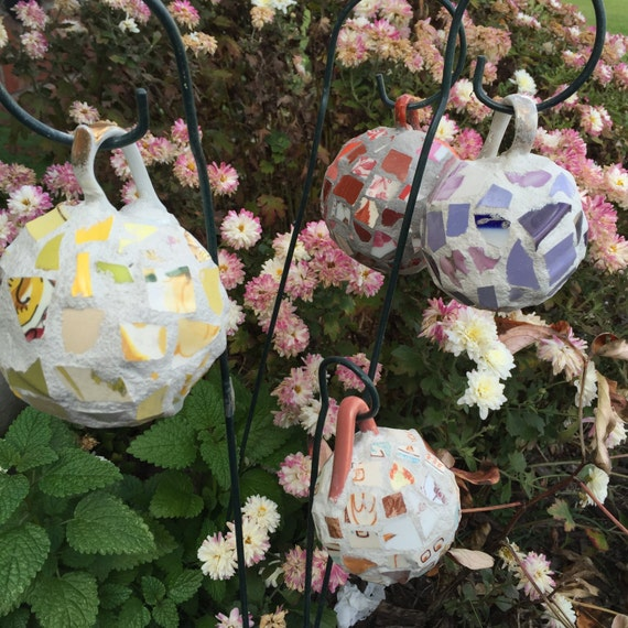 Recycled Broken China Mosaic Garden Ball Ornaments - Vintage Teacups - Choice of Colors Only 3 Left!