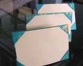 set of 3 origami paper frames - turquoise teal dragonfly pattern print