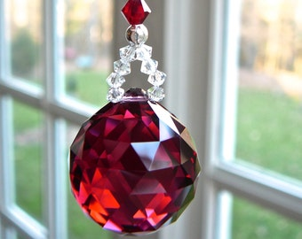 """Faceted Red Crystal Ball Suncatcher, Crystal Car Charm, Rear View Mirror, Car Decoration, For Car or Home Window - """"Little Simplicity"""""""