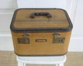 Vintage Train Case Suitcase Striped Luggage Tan Brown Storage