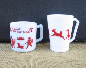 Vintage Milk Glass Cups, Child Cups, Red White Cups, Prayer Cup, Animal Mug, Child Mug