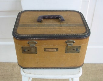 Vintage Train Case Suitcase Striped Luggage Tan Brown Storage