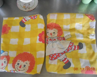 Vintage Raggedy Ann and Raggedy Andy Twin Size Sheet Set The Bobbs-Merrill Company Inc