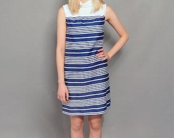 JULY SALE Vintage Mod Shift Dress // Navy & White Stripe Dress // 1960's Sleeveless Dress