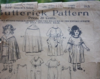 1920's Butterick Pattern #415 for Doll Cape, Hat, Dress and Petticoat