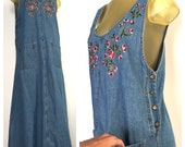 Long Denim Dress, Vintage Denim Maxi Dress, Embroidered Pink Flowers, Sleeveless Denim Dress, Blue Jean Tank Dress, Vintage 80s Denim Jumper