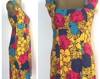 Vintage 60s Dress, Yellow Sleeveless Dress, Bright Floral Vintage Dress, Cute Spring Dress, Empire Waist Wiggle Dress, Zip up Dress, M 1960s