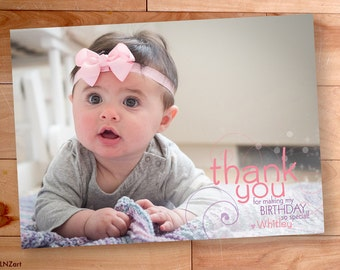 Thank You Photo Card, Birthday Thank You, Custom Thank You Card, Swirls