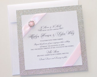 Silver Glitter Wedding Invitation - Vintage Wedding Invitation - Elegant Wedding Invitation - Sliver Blush Wedding - Marilyn Sample
