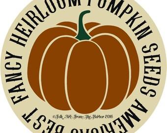 Fancy Heirloom Pumpkin Seeds Stencil 7 mil Transparent Blue mylar Folk Art From The Harbor