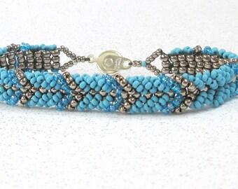 blue friendship bracelet seed bead bracelets gold beaded jewelry  stackable bracelets