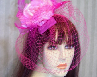 "Kentucky Derby Fascinator Hat, Races, ""Pink Rose"" Tea Party, Preakness, Belmont Hat"