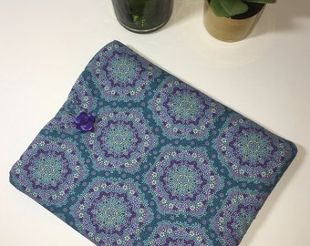 iPad Case, iPad Cover, Tablet Case, Fabric iPad Case, Gift Idea, Purple and Teal iPad Cover
