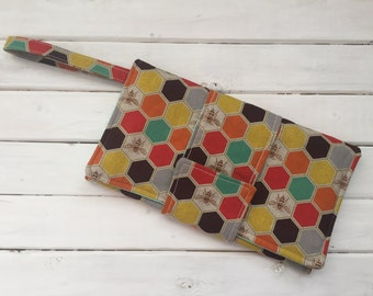 Wristlet Clutch Bag- Imported Japanese Fabric- Honeycomb Bees
