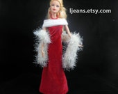 Red Velvet Barbie Evening Dress, Boa, Shawl, Corset, Capelet, and Jewelry Set
