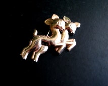 Retro vintage 40s sterling silver double bambi deer brooch  with rose gold vermeil plating.Made by Silverman Brother.