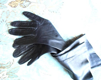 25% off Luxurious vintage 60s black genuine kid , hand cut opera gloves.Size 6 1/2